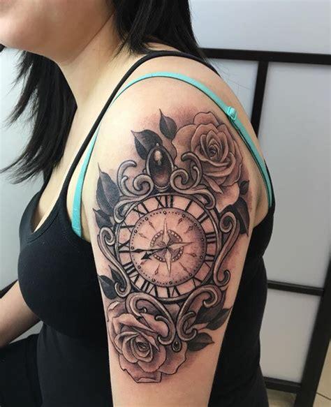 rose  clock tattoo   time  son  born tatoos tattoos clock tattoo design body