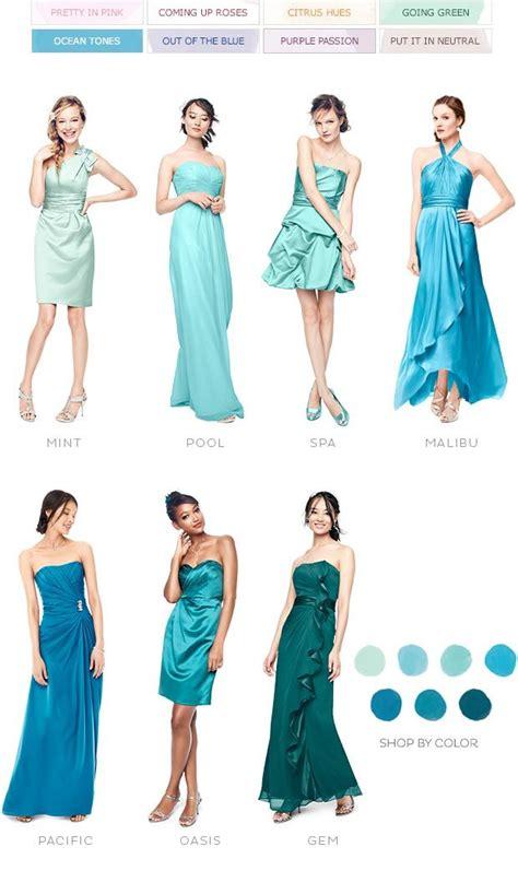 ocean tones color palettes bridesmaid dresses  color