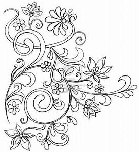 Sketchy Doodle Vines and Flowers Scroll Vector Drawing ...