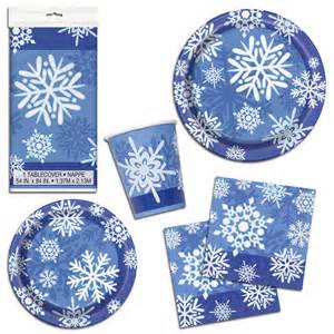 25th wedding anniversary plates christmas party blue winter snowflakes napkins