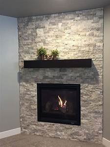 Corner, Fireplace, With, Silver, Travertine, Stacked, Stone, Surround, And, Box, Mantle