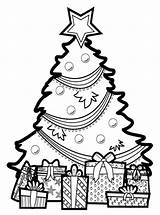 Coloring Tree Printable Everfreecoloring Christmastree sketch template