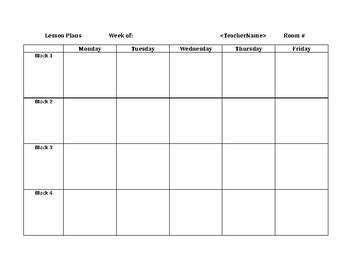 block schedule weekly lesson plan grid  susan mccauley tpt