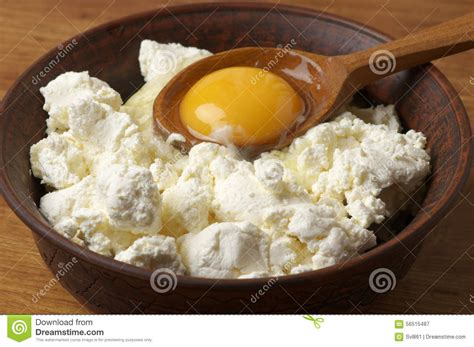 cooking cottage cheese cooking cottage cheese and yolk stock photo image 56515487