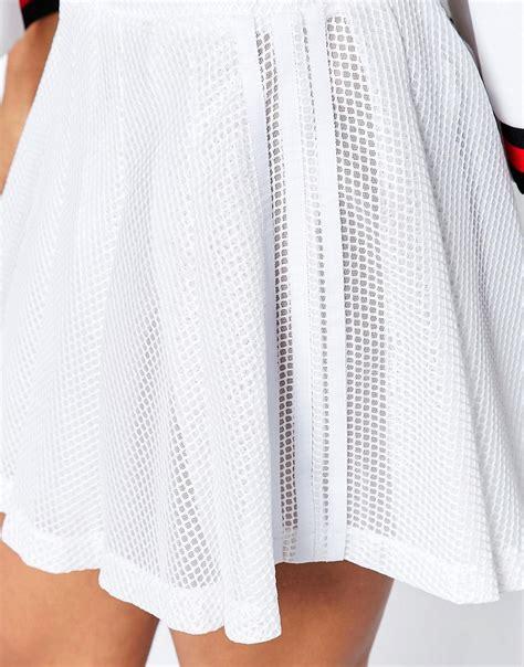 lyst adidas originals originals mini pleated skirt  white