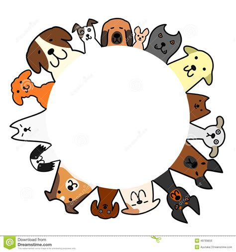 dogs circle  copy space stock vector illustration