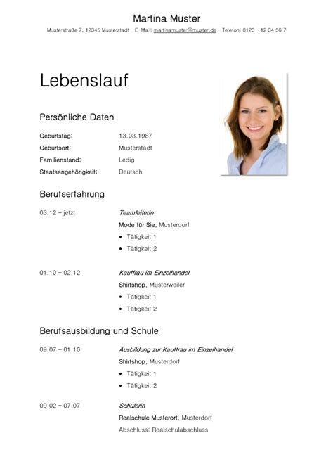 Vorlage Tabellarischer Lebenslauf by Tabellarischer Lebenslauf Vorlage Kostenlose Muster Zum