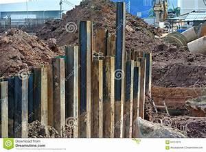 Retaining Wall Steel Sheet Pile Stock Photo - Image: 59704919
