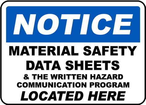 Notice Msds Located Here Sign By Safetysign.com