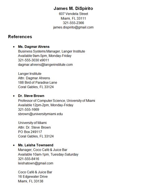 how to list personal references on resume