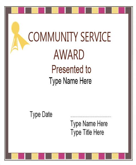 award certificates  word format