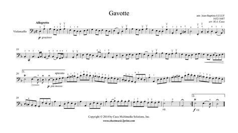 Gavotte Suzuki Book 2 by Lully Gavotte In D Minor Cello