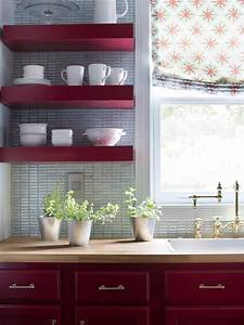 Red, Floating, Shelves, In, Transitional, Kitchen