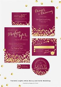 wine berry and gold twinkle lights wedding invitation set With wine red and gold wedding invitations