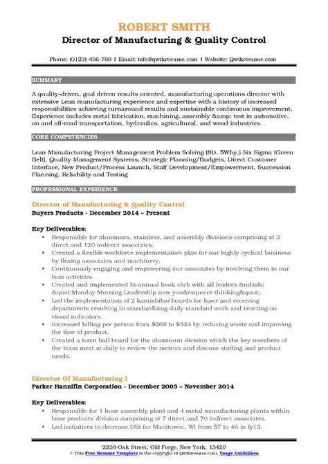 director  manufacturing resume samples qwikresume
