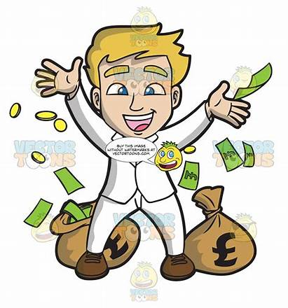 Lucky Money Guy Rejoicing Clipart Vectortoons Cartoons