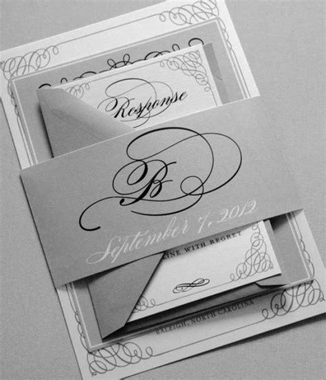 black  white wedding invitations black  gray