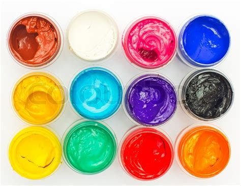 Different Colours by Open Banks Of A Paint With Different Colours Stock Photo