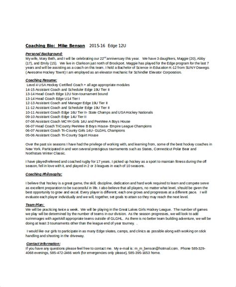 Field Hockey Resume Exle by Coach Resume Template 7 Free Word Excel Documents Free Premium Templates