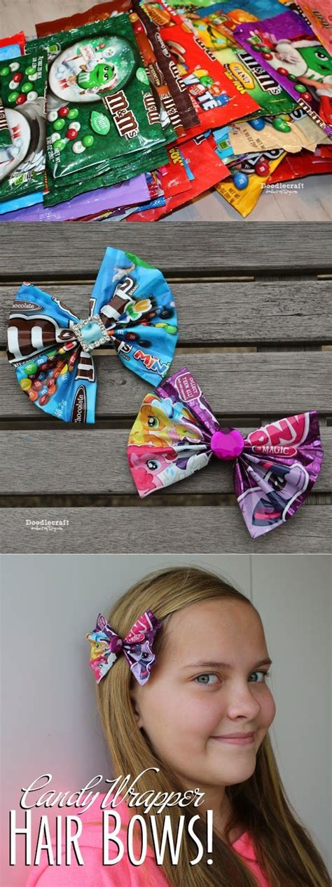 I found a solitary chocolate wrapper sitting on the bathroom floor. CANDY WRAPPER Hair Bows or Bowties! | Hair bows, Diy hair bows, Candy wrappers