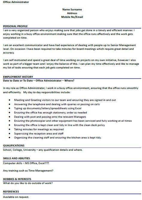 How To Do A Cv For A Exle by Cv Exle For Office Administrator Lettercv