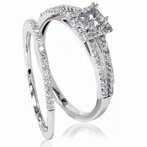 3  8ct Split Shank Princess Cut Halo Engagement Ring