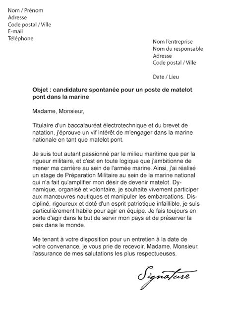 lettre de motivation arm 233 e marine nationale mod 232 le de lettre