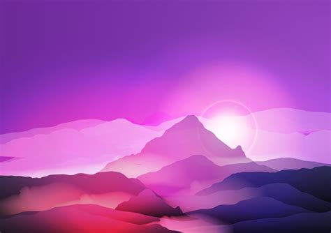 mountain sunrise landscape nature background vector