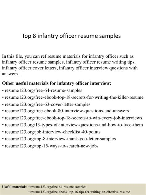 Infantry Resume Exles by Top 8 Infantry Officer Resume Sles