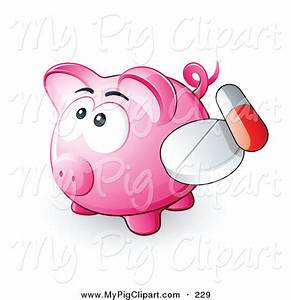 Swine Clipart of a Cute Pink Piggy Bank with a Pill and ...