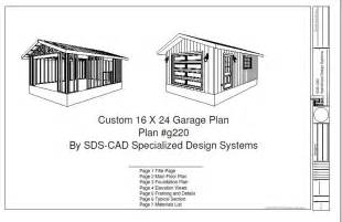 cabin plans with garage g220 16 x 24 garage plan blueprints cabin plans