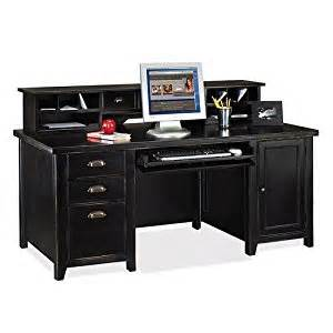 amazon com tribeca loft black computer desk with hutch distressed painted black finish home