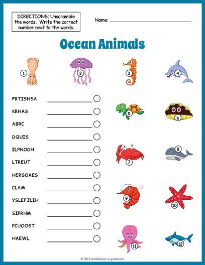 ocean animals vocabulary worksheet