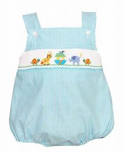 Petit Bebe By Anavini Infant Boys Turquoise Stripe Smocked