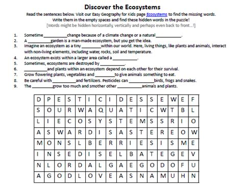 Ecosystems Worksheet  Free Printable Earth Science Worksheets