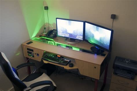 custom desk with pc built in gaming battlestation via