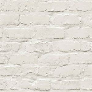 Ideco Home Painted White Brick Wallpaper A10401
