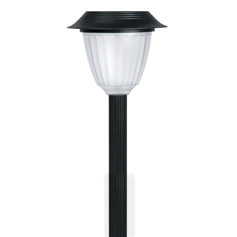shop portfolio black solar powered led path light at lowes