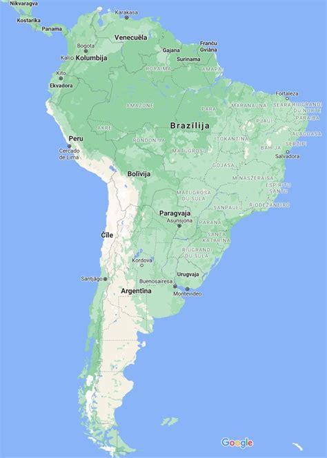 Dienvidamerikas karte - valstis, galvaspilsētas