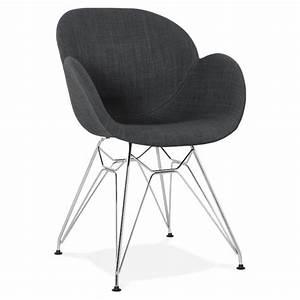 Chaise Design Metal : chaise design style industriel tom en tissu pied m tal chrom gris fonc ~ Teatrodelosmanantiales.com Idées de Décoration