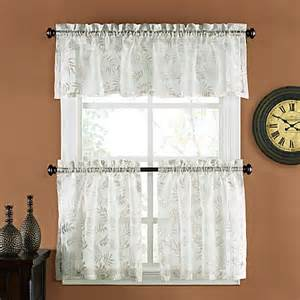 palm burnout linen window curtain tiers bed bath beyond