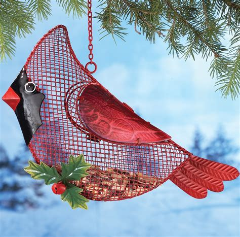 hanging outdoor cardinal bird feeder christmas