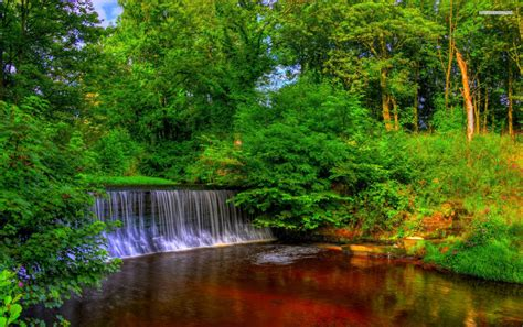 Trees Waterfall Copper Lake Wallpapers  Trees Waterfall