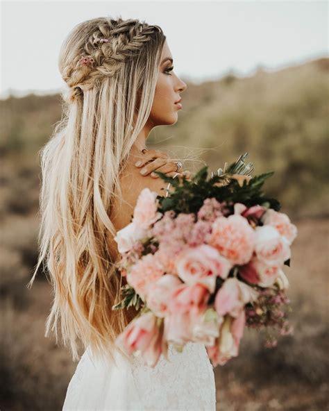 crown braid long hairstyle wedding hair blonde