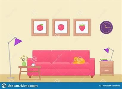 Living Interior Flat Illustrazione Illustratie Betrag Flaches