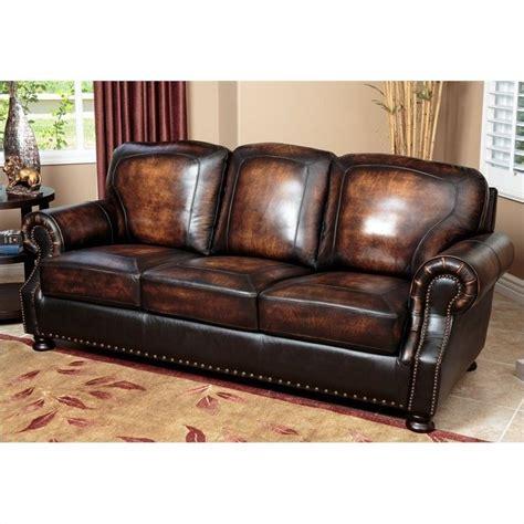abbyson living leather sofa abbyson living tannington leather sofa in brown sk 2308