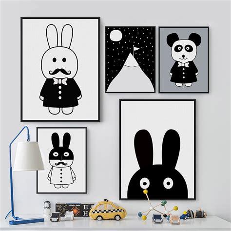 Modern Black White Cute Rabbit Panda Poster Print A4 Baby