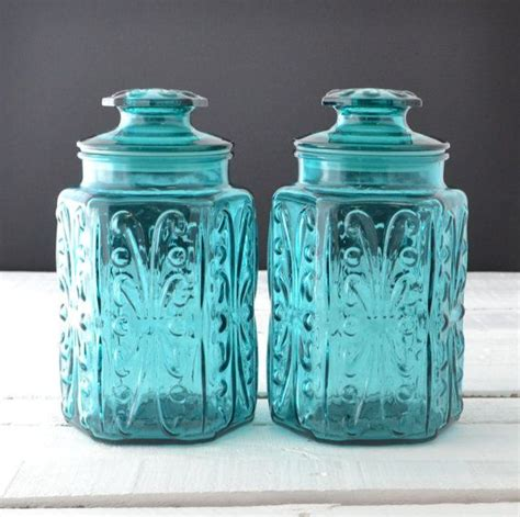 vintage glass canisters kitchen teal glass canisters vintage kitchen canisters atterbury scroll imperial glass aqua