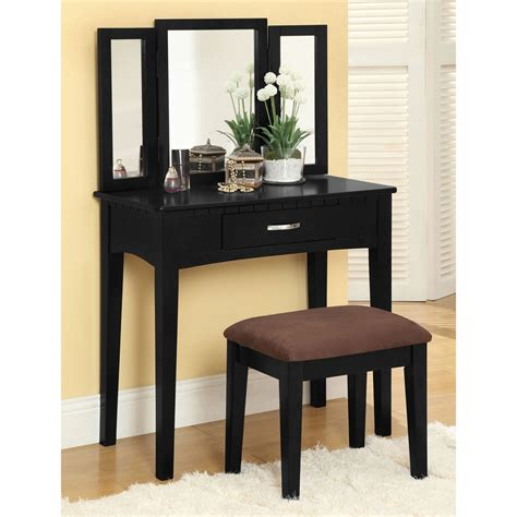vanity table and stool shop furniture of america potterville black makeup vanity