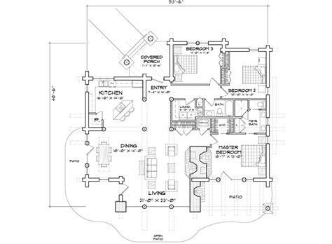 Handcrafted Log Home Floor Plan